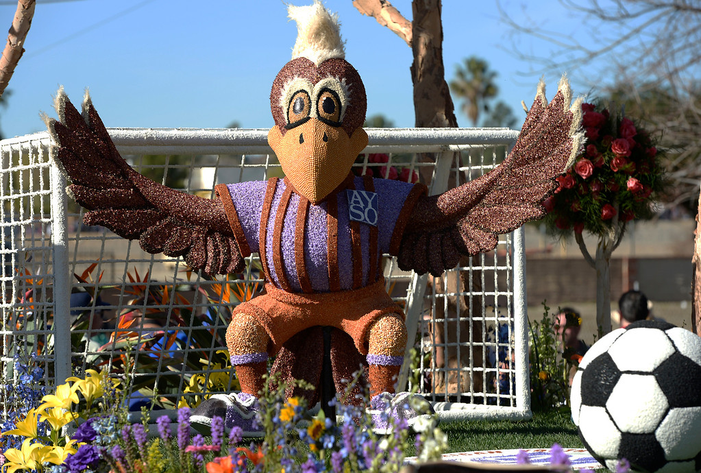 . A soccer playing bird blocks the goal on the City of Torrance float. The 125th Rose Parade\'s Showcase of Floats was staged on Sierra Madre Boulevard between Washington Boulevard and Sierra Madre Villa Avenue, and Washington Boulevard between Sierra Madre Boulevard and Woodlyn Road.  Pasadena, CA January 1, 2014.(John McCoy/Los Angeles Daily News)
