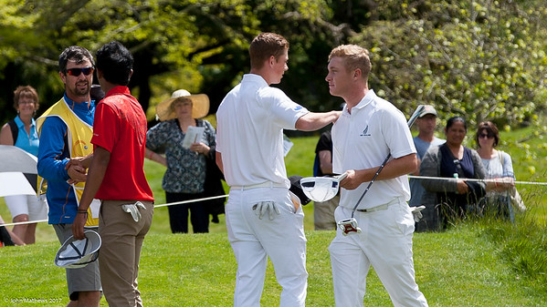 Daniel and Charlie Hillier on the 18th green after completing their round on the 3rd day of competition  in the Asia-Pacific Amateur Championship tournament 2017 held at Royal Wellington Golf Club, in Heretaunga, Upper Hutt, New Zealand from 26 - 29 October 2017. Copyright John Mathews 2017.   www.megasportmedia.co.nz