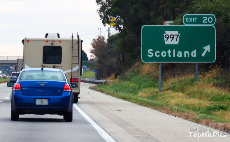Signs for Scotland in Franklin County, Pennsylvania, United States