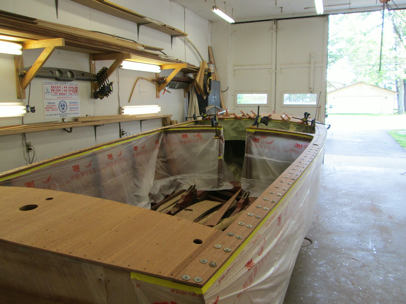 Rear starboard view of new cover boards installed.