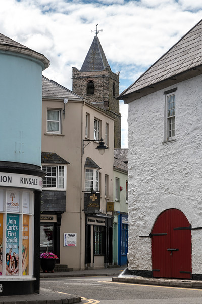 Church and retail stores, Kinsale, County Cork, Ireland