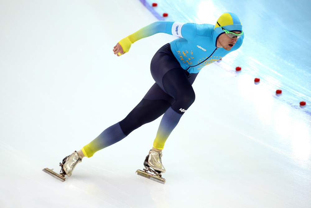 . Denis Kuzin of Kazakhstan competes during the Men\'s 1000m Speed Skating event during day 5 of the Sochi 2014 Winter Olympics at at Adler Arena Skating Center on February 12, 2014 in Sochi, Russia.  (Photo by Streeter Lecka/Getty Images)