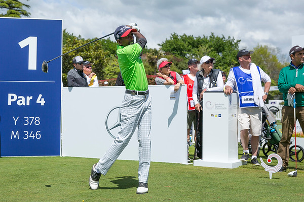 B A Sanjeewa from Sri Lanka hitting off the 1st tee on Day 1 of competition in the Asia-Pacific Amateur Championship tournament 2017 held at Royal Wellington Golf Club, in Heretaunga, Upper Hutt, New Zealand from 26 - 29 October 2017. Copyright John Mathews 2017.   www.megasportmedia.co.nz
