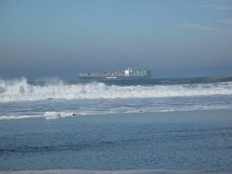 Container Ship, Ocean Beach, San Francisco, November 2008