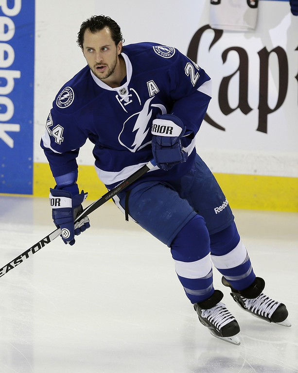 . Tampa Bay Lightning right wing Ryan Callahan (24) before Game 7 of a first-round NHL Stanley Cup hockey playoff series against the Detroit Red Wings Wednesday, April 29, 2015, in Tampa, Fla. (AP Photo/Chris O\'Meara)