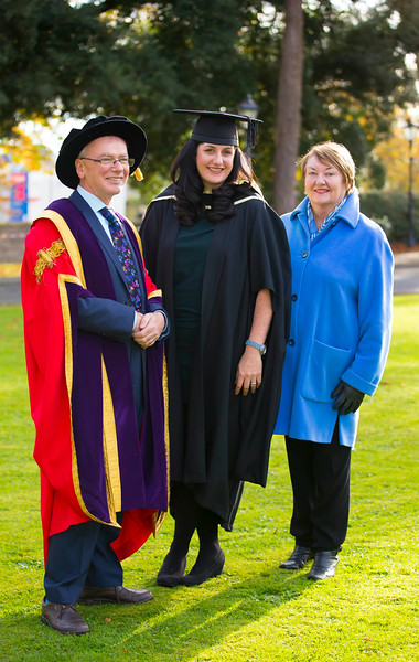 02/11/2016. Waterford Institute of Technology (WIT) Conferring Ceremonies November 2016.  Pictured is Amy Hickey from New Ross who graduated with an MA in Management in Education with her mum Ann Hickey and Prof. Willie Donnelly President of WIT. Picture: Patrick Browne
