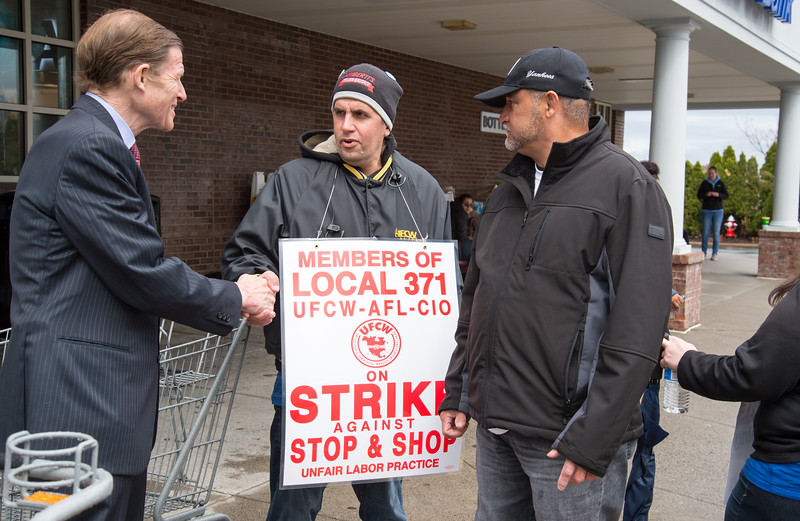 04/15/19  Wesley Bunnell | Staff  Senator Richard Blumenthal visited area Stop & Shop Supermarkets on Monday afternoon speaking to striking workers on the importance of not just protecting their jobs but helping to uphold other jobs in the middle class. Richard Delaney, middle, a Union Steward for Local 371, shakes hands with Senator Blumenthal.