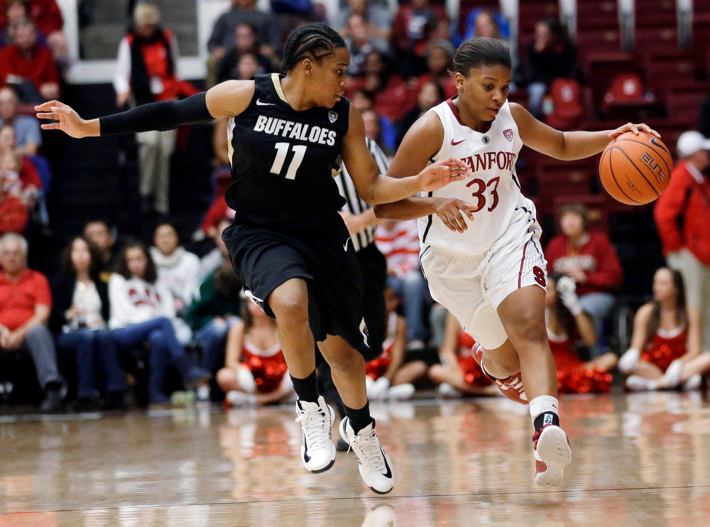 . Stanford\'s Amber Orrange (33) brings the ball up as Colorado\'s Brittany Wilson (11) defends during the second half of an NCAA college basketball game in Stanford, Calif., Sunday, Jan. 27, 2013. Stanford won 69-56. (AP Photo/Marcio Jose Sanchez)