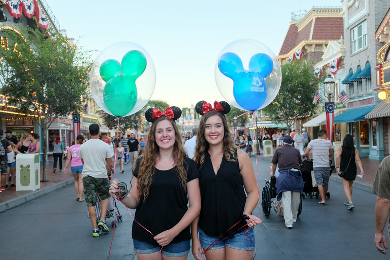 Kaitlin and Emma on Main Street, Disneyland.