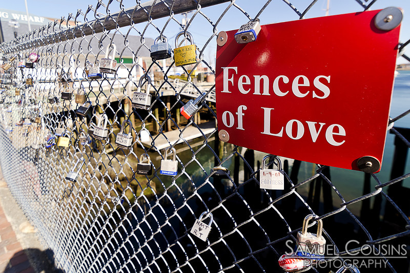 Fences of Love on Commercial St in Portland, Maine.