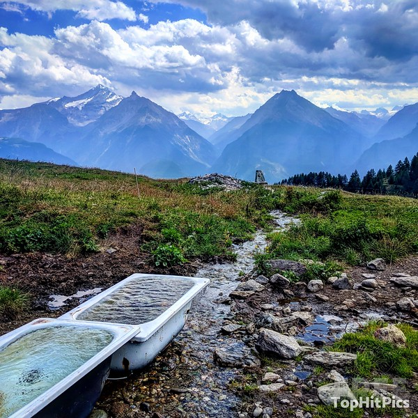 The Drinking Bathtubs For The Cattle in the Aosta Valley in Italy