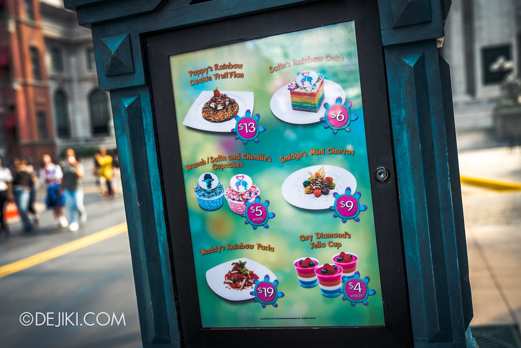 Universal Studios Singapore Park Update March 2018 TrollsTopia event - Special dessert menu at Loui's NY Pizza Parlor