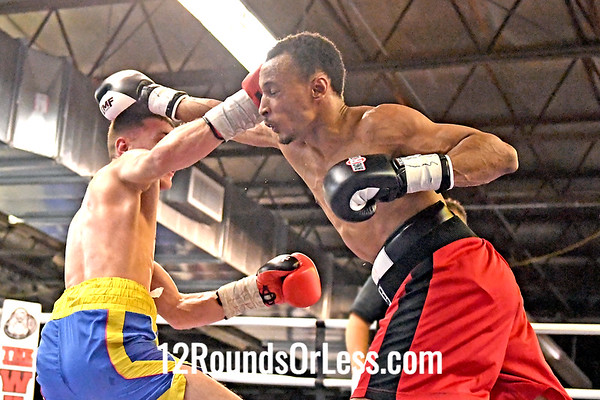 2nd Pro Bout=Bout 9 Oleg Aovhun, Blue + Yellow Trunks -vs- Elliot Brown, Red Trunks, 130 Lbs, Pro Boxing