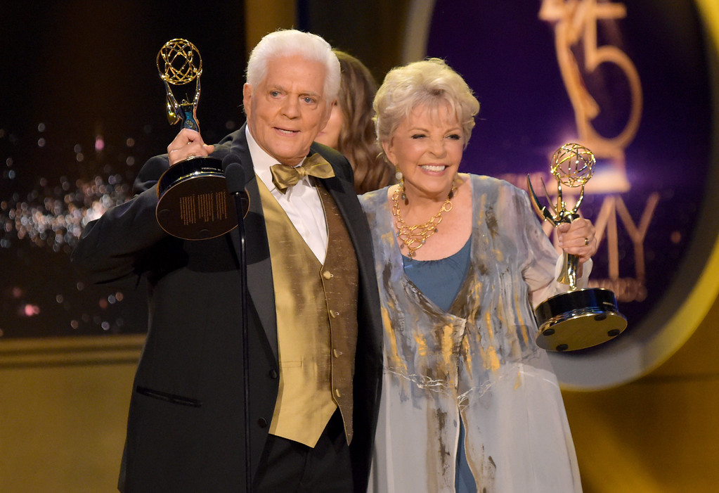 . Bill Hayes, left, and Susan Seaforth Hayes accept the lifetime achievement award at the 45th annual Daytime Emmy Awards at the Pasadena Civic Center on Sunday, April 29, 2018, in Pasadena, Calif. (Photo by Richard Shotwell/Invision/AP)