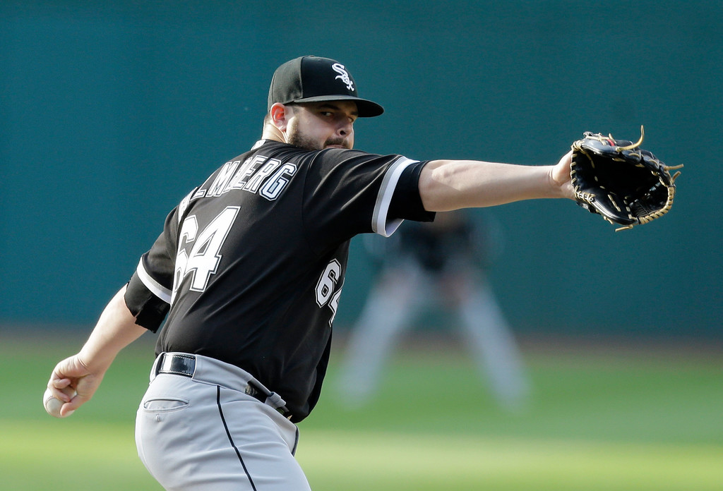 . Chicago White Sox starting pitcher David Holmberg delivers in the first inning of a baseball game against the Cleveland Indians, Saturday, June 10, 2017, in Cleveland. (AP Photo/Tony Dejak)