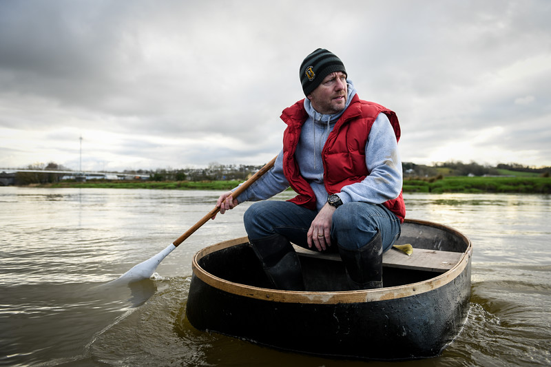 Carmarthen, 11th February 2019  Traditional coracle fishing on the the river Towy in Carmarthen.   Pictured is fishermen, Malcom Rees in his coracle.