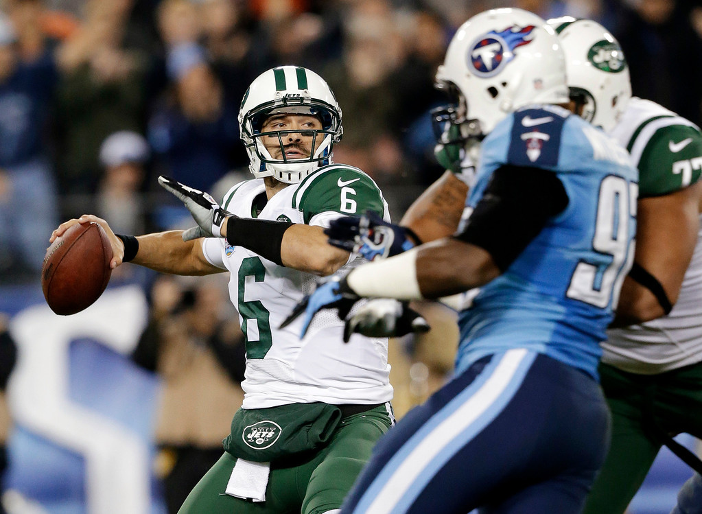 . New York Jets quarterback Mark Sanchez (6) passes against the Tennessee Titans in the second quarter of an NFL football game, Monday, Dec. 17, 2012, in Nashville, Tenn. (AP Photo/Wade Payne)