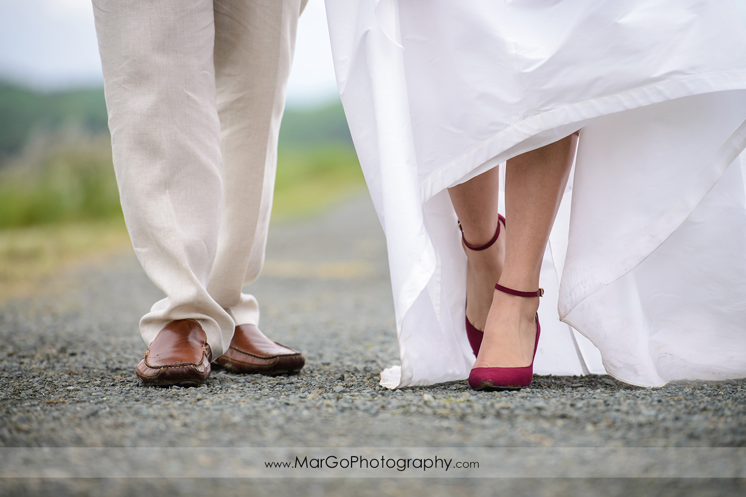 shoes of bride and groom at Martinez Regional Shoreline