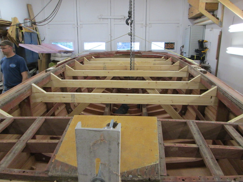 Ready to remove the bracing from inside the hull.
