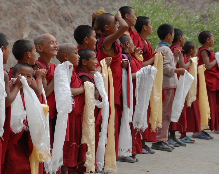 Monks awaiting the arrival of the head lama (rimpoche) for their monastery.  He only visits a few times a year so it was a very special day.