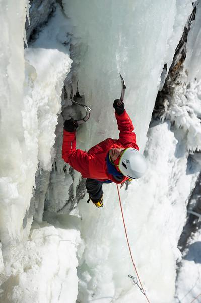 Jorge Akermann ice climbing near Piedmont, Quebec, Canada
