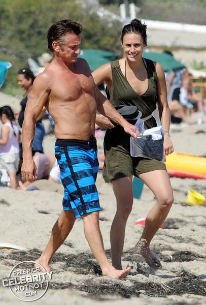 Toned Sean Penn Take His Girlfriend On A Jet Ski In Malibu, California