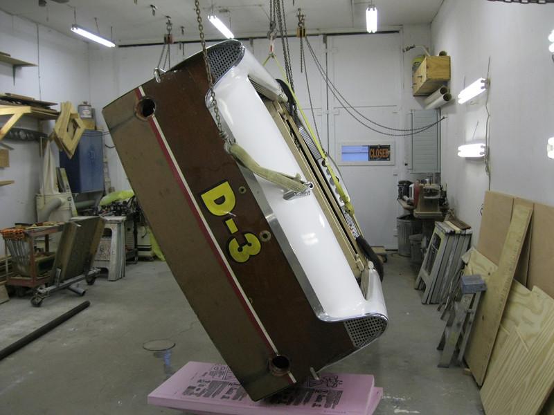 Turning thr hull upside down.