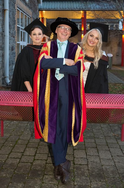 28/10/2015 IMAGE FREE TO USE. Conferring at Waterford Institute of Technology. l-r  Joanna O'Brien from Ferrybank Batchelor of Science (honours) in General Nursing, Prof Willie Donnelly President WIT and Eleanor Kirwan from Glenmore Batchelor of Science (honours) in Psychiatric Nursing. Photo; Mary Browne