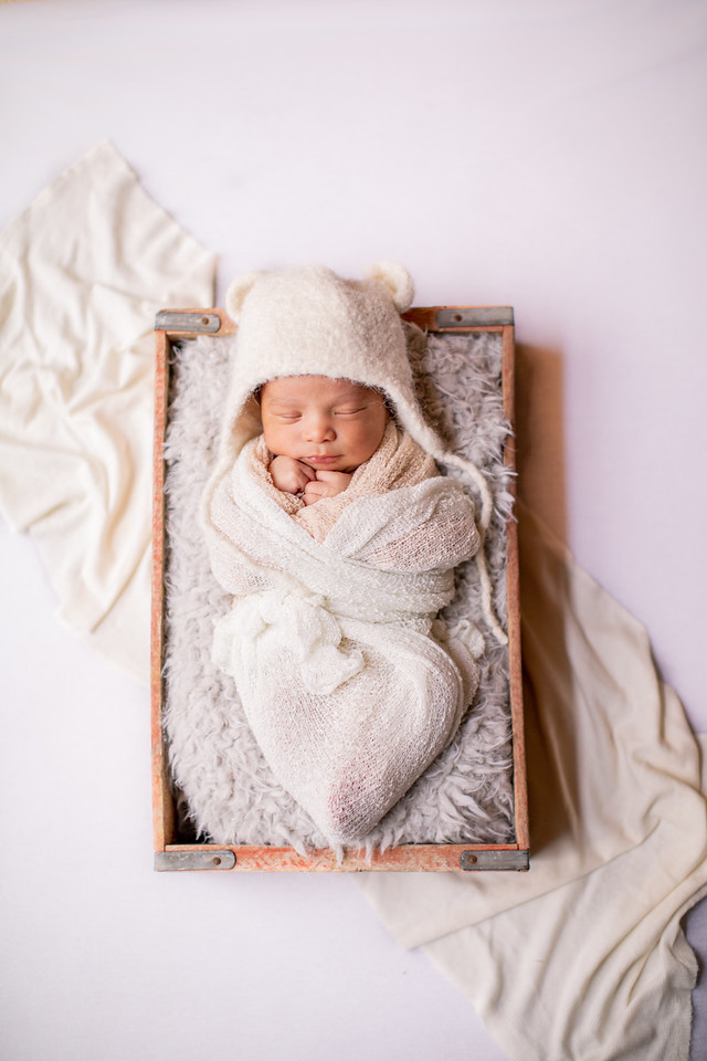 Newborn session by Jalapeno Photography in the Washington, DC, area with bear hat.