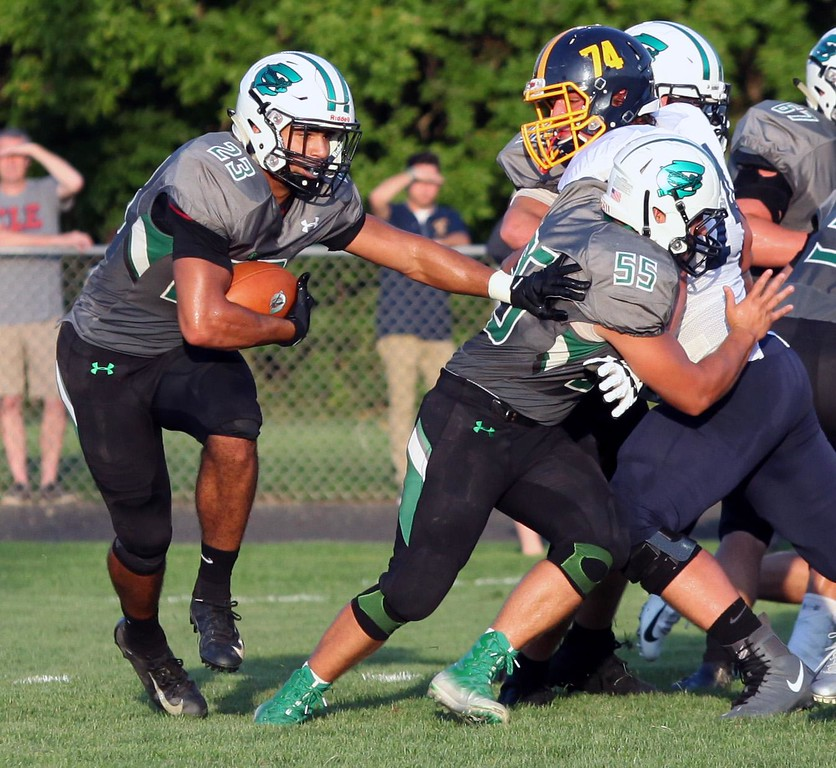 . Randy Meyers - The Morning Journal Action from Kirtland\'s game at Columbia Aug. 31. Kirtland won, 49-7.