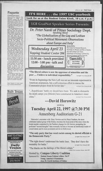 Daily Trojan, Vol. 130, No. 63, April 22, 1997