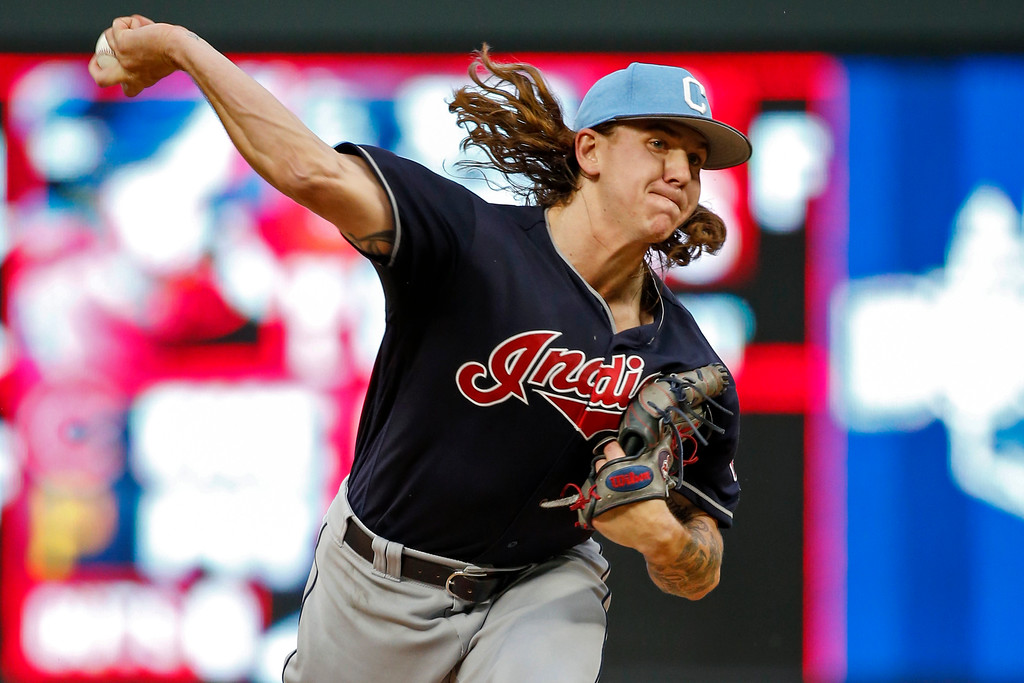 . Cleveland Indians starting pitcher Mike Clevinger throws to the Minnesota Twins in the first inning of the second baseball game of a doubleheader Saturday, June 17, 2017, in Minneapolis. (AP Photo/Bruce Kluckhohn)