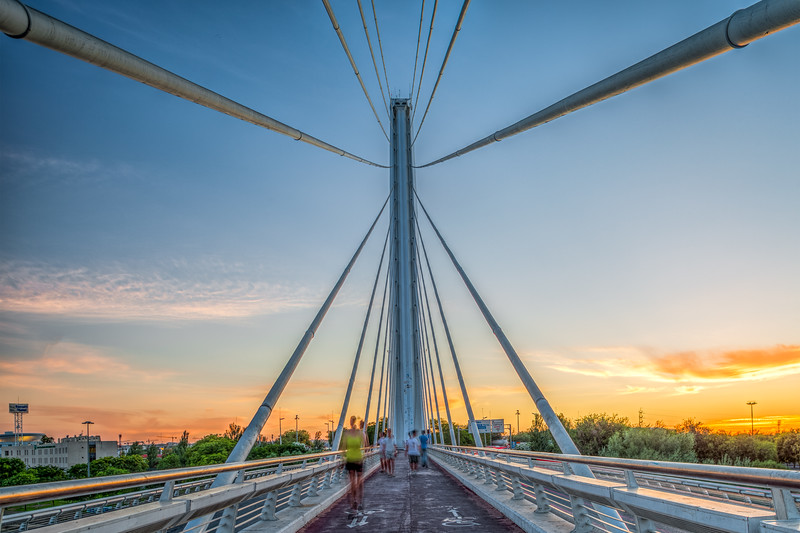 Pedestrian path of the Alamillo bridge, Seville, Spain.