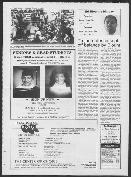 Daily Trojan, Vol. 102, No. 30, October 13, 1986