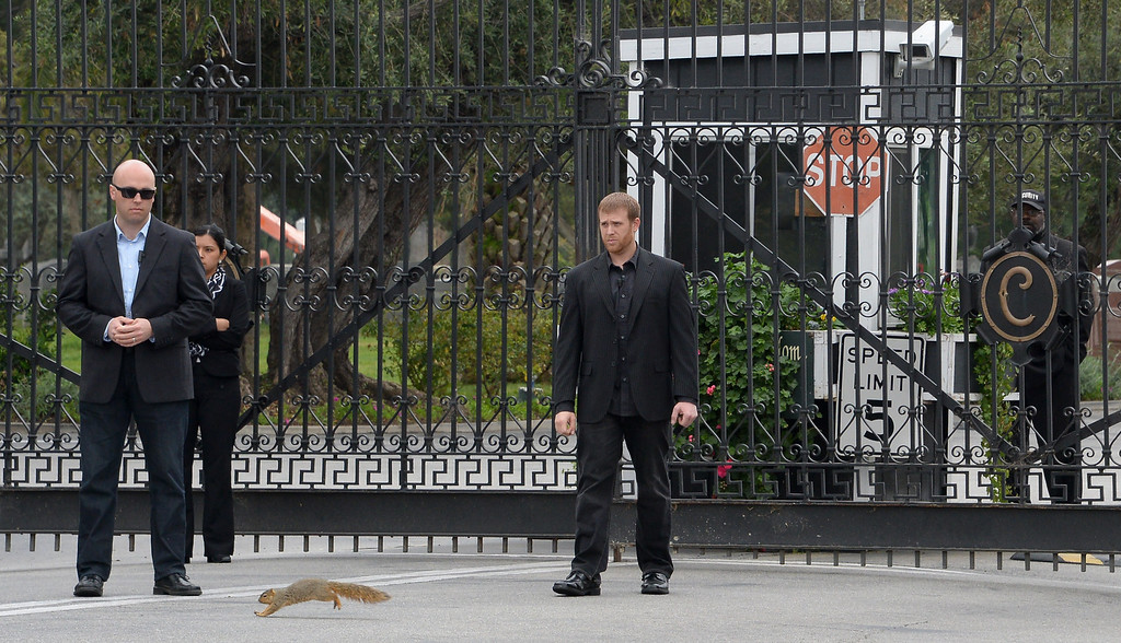 . A squirrel runs before security men guarding the main gate to Hollywood Forever Cemetery during the funeral of Mick Jagger\'s  girlfriend LWren Scott  in Hollywood, California on March 25, 2014.  The model-turned-fashion designer was found hanged in her luxury New York apartment last week. She was 49. The cemetery was closed for the roughly one-hour service, held amid tight security.           (JOE KLAMAR/AFP/Getty Images)