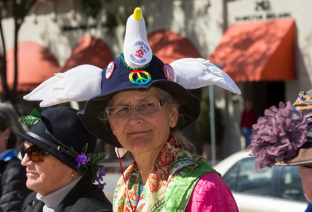 . Catherine Bock, a member of the Raging Grannies, attends the Silicon Valley Community Against Gun Violence  rally . (John Green/Staff)