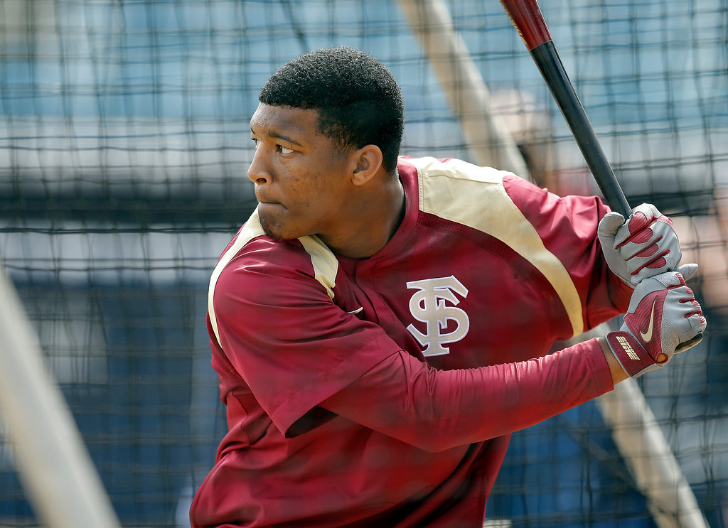 ". <p><b> Heisman Trophy winner and Florida State reliever Jameis Winston admitted he was a little �starstruck� on Tuesday about � </b> <p> A. Playing the New York Yankees <p> B. Meeting the New York Yankees <p> C. Signing a $200 million contract with the New York Yankees <p><b><a href=\' http://espn.go.com/new-york/mlb/story/_/id/10512225/new-york-yankees-jameis-winston-florida-state-seminoles-eager-matchup-tuesday\' target=""_blank\"">HUH?</a></b> <p>   (AP Photo/Chris O\'Meara)"