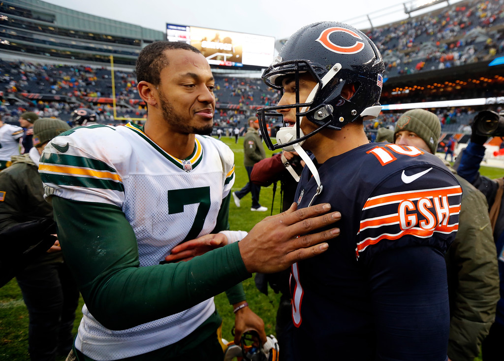 . Green Bay Packers quarterback Brett Hundley (7) greets Chicago Bears quarterback Mitchell Trubisky (10) after an NFL football game, Sunday, Nov. 12, 2017, in Chicago. The Packers won 23-16. (AP Photo/Charles Rex Arbogast)