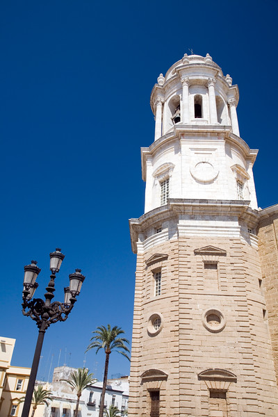 Colorful image of the Western Tower of Cadiz Cathedral