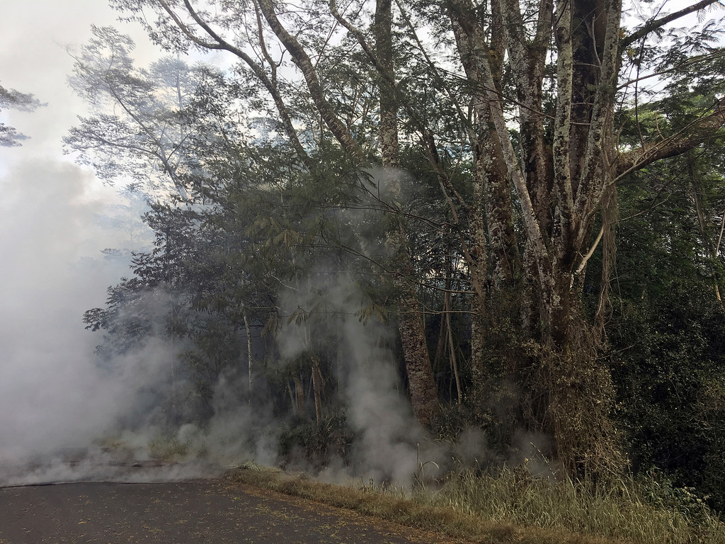 . Volcanic fumes closed a road near the Leilani Estates in Pahoa, Hawaii, Saturday, May 5, 2018. Hundreds of anxious residents on the Big Island of Hawaii hunkered down Saturday for what could be weeks or months of upheaval as the dangers from an erupting Kilauea volcano continued to grow. Lava spurted from volcanic vents, toxic gas filled the air and strong earthquakes, including a magnitude 6.9 temblor on Friday, rocked an already jittery population. (AP Photo/Marco Garcia)
