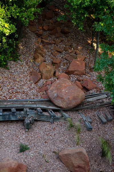 Railroad Tracks Destroyed From A Rockslide