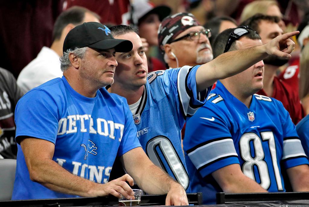 . Detroit Lions fans watch an NFL football game against the Arizona Cardinals, Sunday, Nov. 16, 2014, in Glendale, Ariz. (AP Photo/Matt York)