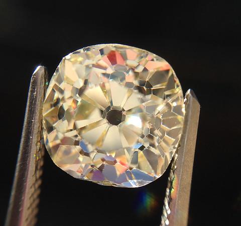 2.26ct Light Yellow Antique Cushion Cut Diamond, GIA UV SI1