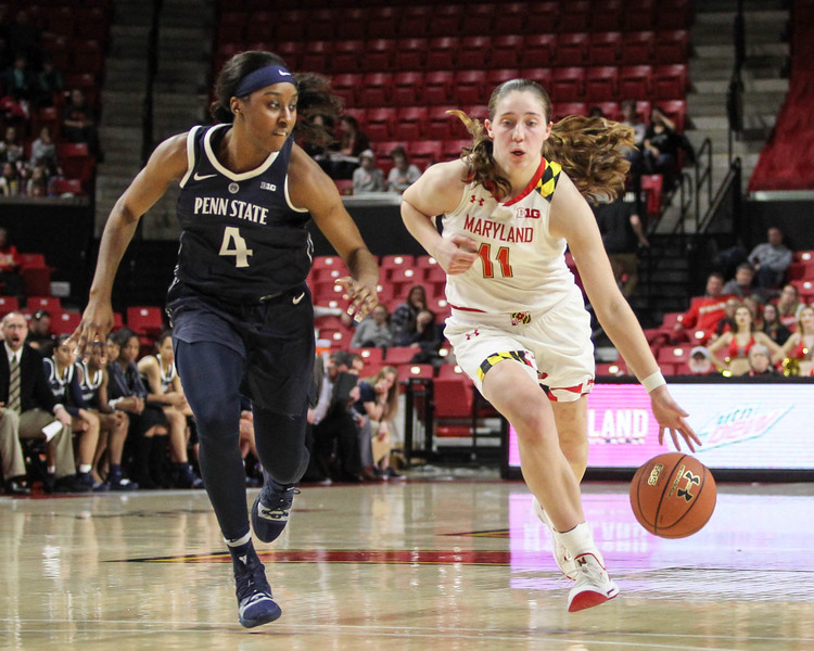 January 20, 2019: Maryland guard Taylor Mikesell (11) dribbles past Penn State guard Siyeh Frazier (4)  during Big Ten womens basketball action between Penn State and University of Maryland in College Park. Photo by: Chris Thompkins/Prince Georges Sentinel