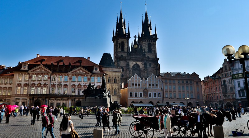 A main square in Prague. The plaza's Czech name contains about 2 full Scrabble games worth of consonants. I did not bother.