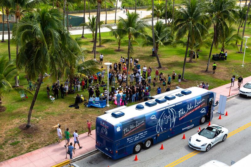 2018_11_03, Beach, Beach Bed In, Bed In, Bed In on the Beach, Bus, Come Together, Come Together Miami, Establishing, Exterior, FL, Florida, Miami, Miami Beach, The Betsy, The Betsy Hotel