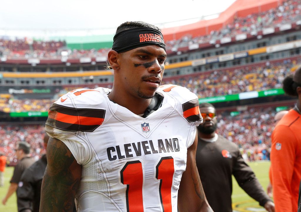 . Cleveland Browns wide receiver Terrelle Pryor (11) heads to the locker room after the first half of an NFL football game against the Washington Redskins, Sunday, Oct. 2, 2016, in Landover, Md. (AP Photo/Carolyn Kaster)