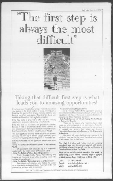 Daily Trojan, Vol. 144, No. 12, September 14, 2001