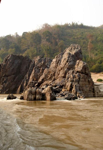 rocks along the Mekong