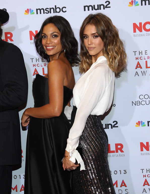. Rosario Dawson, left and Jessica Alba pose backstage at the NCLR ALMA Awards at the Pasadena Civic Auditorium on Friday, Sept. 27, 2013, in Pasadena, Calif. (Photo by Paul Hebert/Invision/AP Images)